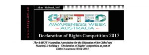Gifted Awareness Week 2017 Declaration of Rights Competition banner